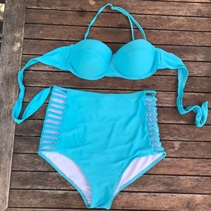 Other - Turquoise High Waisted Bikini, Large
